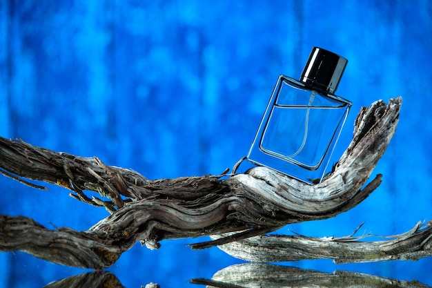 Vista frontal de la botella de colonia de los hombres en la rama de un árbol podrido aislado sobre fondo azul.