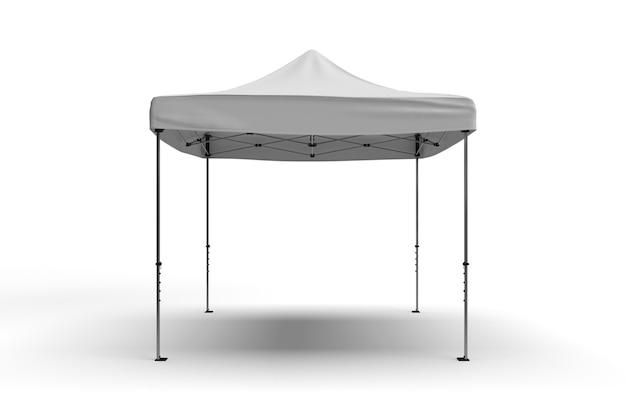 Vista frontal de una carpa gazebo para publicidad aislado sobre un fondo blanco.