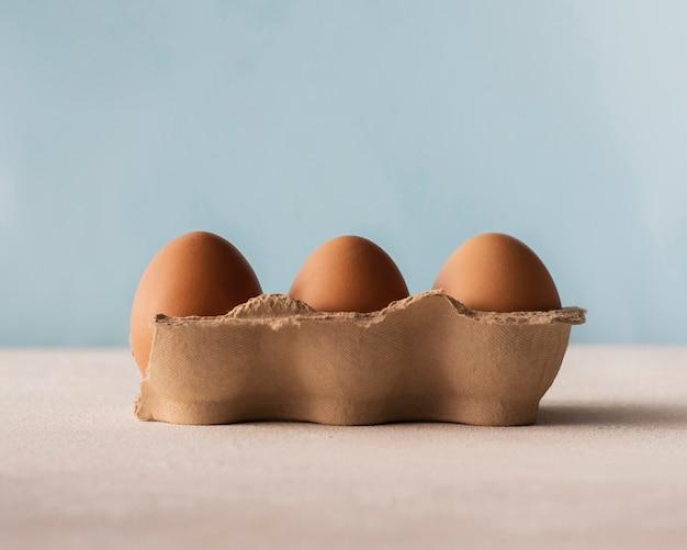 Vista frontal de cartón de huevos marrones
