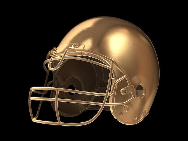 Vista frontal del casco de fútbol americano de oro aislado.