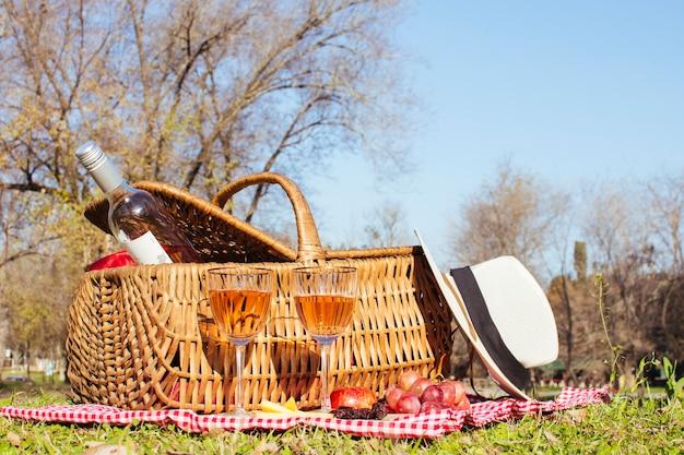 Vista frontal cesta de picnic con botella de vino.