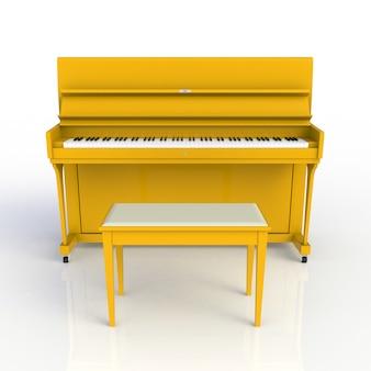 Vista frontal del clásico instrumento musical amarillo piano aislado sobre fondo blanco