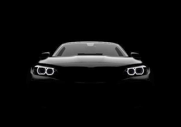 Vista frontal de un coche moderno genérico y sin marca.