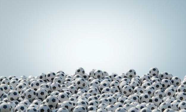 Vista frontal de la composición con balones de fútbol