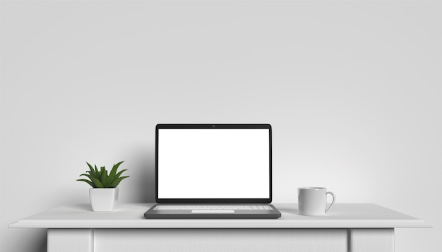 Vista frontal de la computadora portátil está en la mesa de trabajo, fondo de pared blanca 3d render