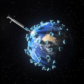 Vista frontal del concepto médico de vacuna