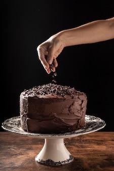 Vista frontal del concepto de pastel de chocolate