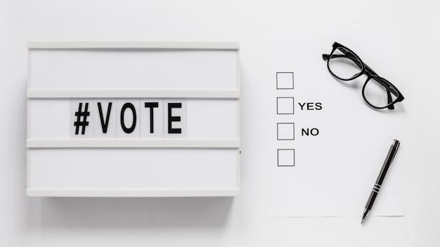 Vista frontal del concepto de voto electoral