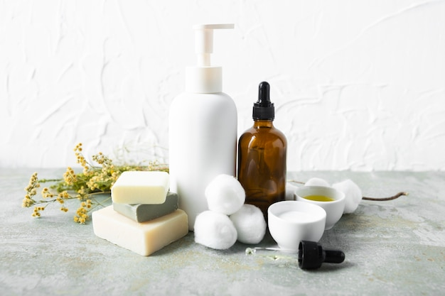 Vista frontal cuidado corporal productos naturales