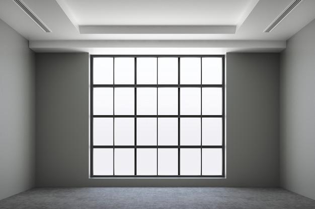 Vista frontal del espacio interior vacío estilo loft industrial con ventanas de piso de concreto y luz solar concepto inmobiliario representación 3d