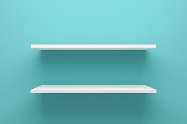 Vista frontal del estante vacío en la pared verde claro