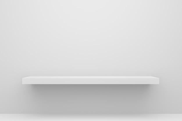 Vista frontal del estante vacío sobre fondo blanco de mesa y pared con concepto minimalista moderno.