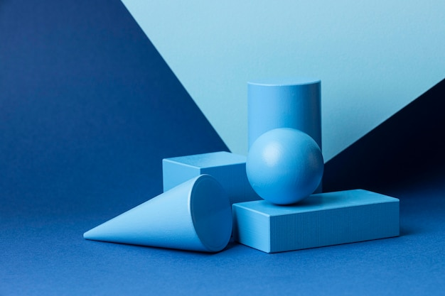 Vista frontal de figuras geométricas