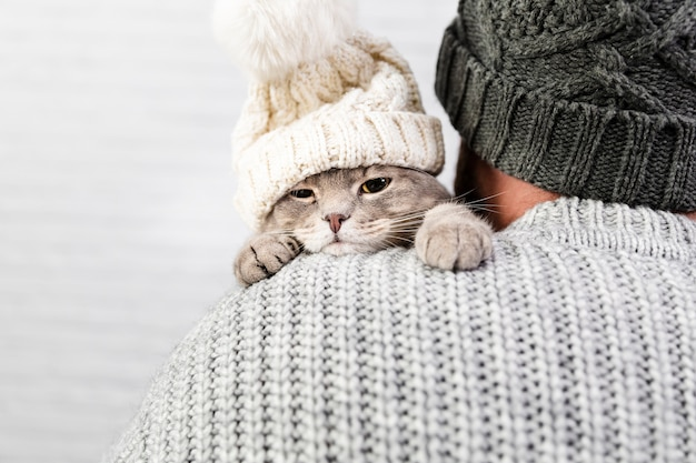 Vista frontal gatito en brazos masculinos