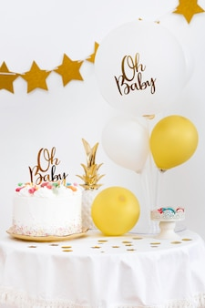 Vista frontal del hermoso concepto de baby shower