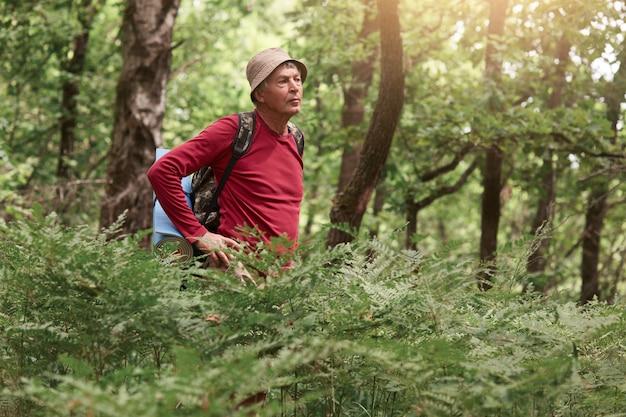 Vista frontal del hombre caucásico de viaje con mochila, senior masculino vestidos sombrero y camisa roja de pie en el bosque entre los árboles con las manos en las caderas