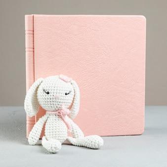 Vista frontal libro con conejito de juguete