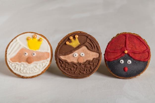 Vista frontal lindo galletas postre feliz epifanía