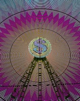 Vista frontal luz de neón abstracta de una rueda de maravilla y signo de dólar