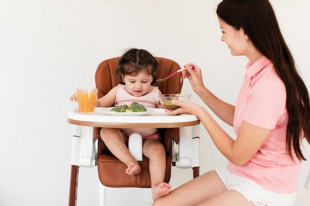 Vista frontal mamá alimentando hija