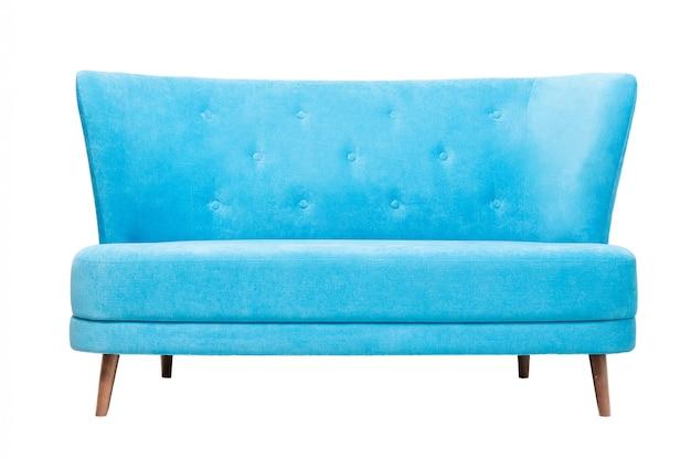 Vista frontal del moderno sofá de tela azul aislado en blanco