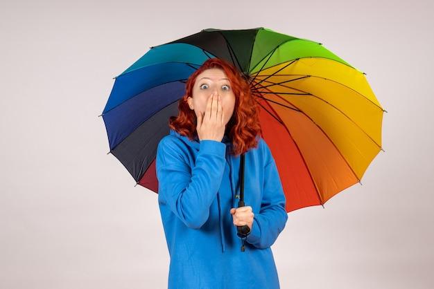 Vista frontal de la mujer joven con coloridos paraguas sorprendidos en la pared blanca