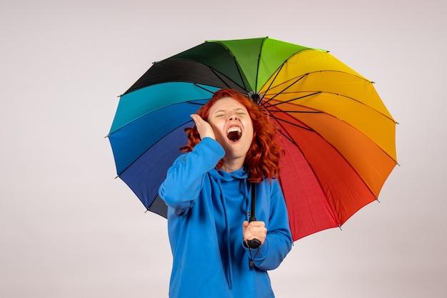 Vista frontal de la mujer joven con paraguas de colores en la pared blanca