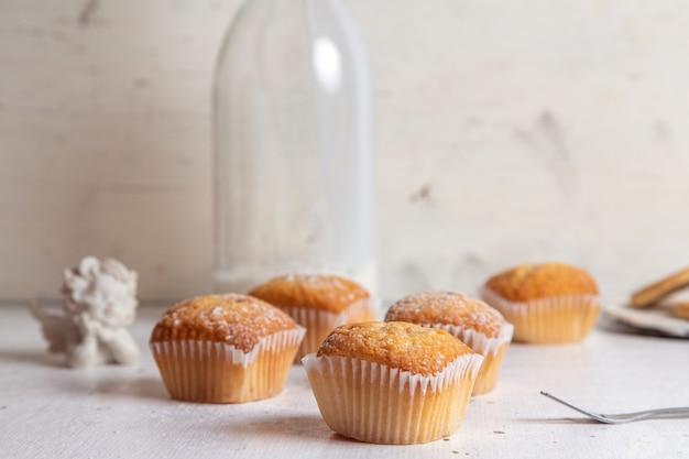 Vista frontal de pequeños pasteles deliciosos con azúcar en polvo y una botella de leche en la superficie blanca