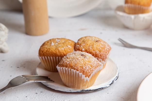 Vista frontal de pequeños pasteles horneados y deliciosos en la superficie blanca