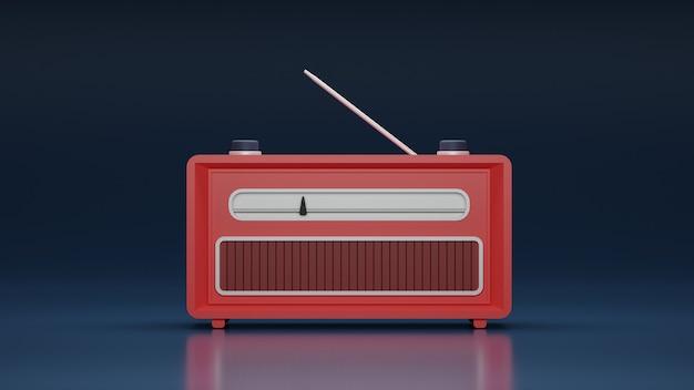 Vista frontal de la radio clásica roja con fondo brillante en diseño 3d