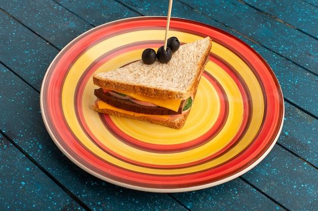 Vista frontal sabroso sándwich dentro de placa colorida dentro de jamón de queso en azul