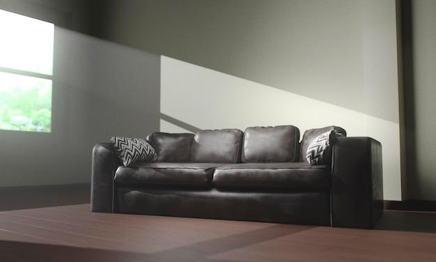 Vista frontal sofá de cuero junto a la ventana