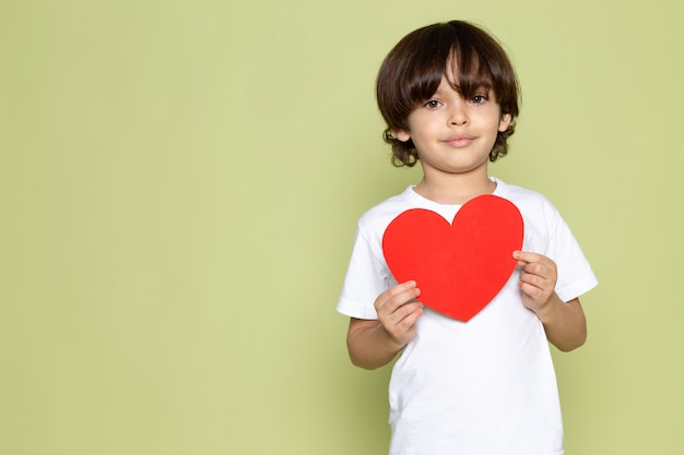 Una vista frontal sonriente niño niño en camiseta blanca con forma de corazón en el espacio de color piedra