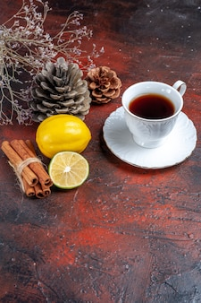 Vista frontal de una taza de té con limón y canela sobre el fondo oscuro