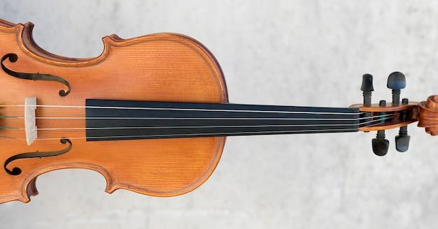 Vista frontal del violín