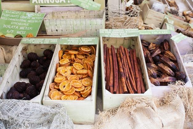 Vista de frutos secos.