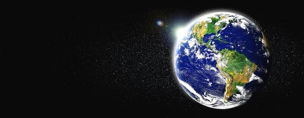 Vista del globo terráqueo desde el espacio que muestra la superficie terrestre realista y el mapa del mundo