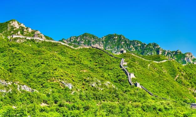 Vista de la gran muralla china en juyongguan - beijing