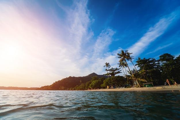 Vista de la hermosa playa tropical con palmeras.
