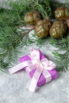 Vista inferior de ramas de pino pequeño regalo sobre fondo gris