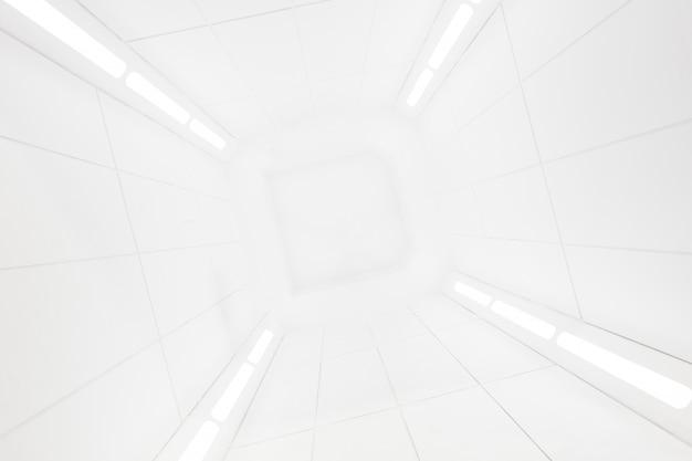 Vista interior del centro de la nave espacial con textura blanca brillante.