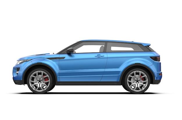 Vista lateral del coche suv sin marca genérico azul aislado sobre fondo blanco.