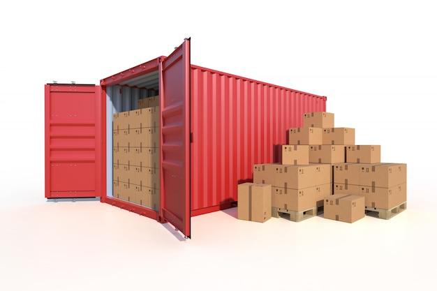 Vista lateral del contenedor de carga del buque con cajas de cartón