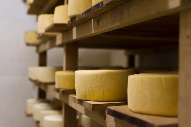 Vista lateral diferentes rollos de queso en el interior