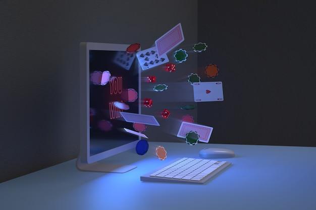Vista lateral de fichas, cartas y dados que salen de un monitor de computadora. concepto de juegos en línea.
