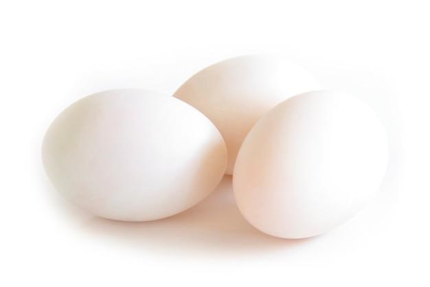Vista lateral del huevo del pato aislada en el fondo blanco