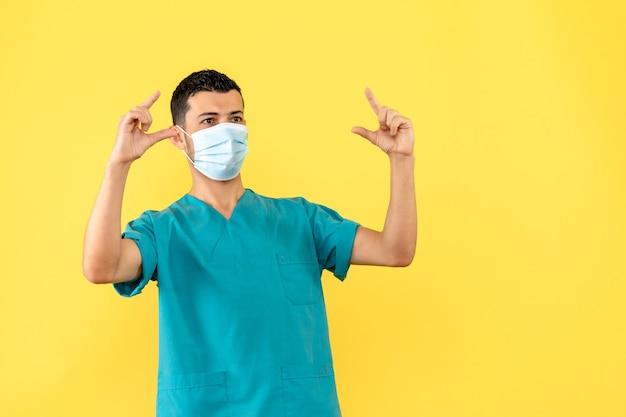 Vista lateral un médico con máscara un médico sabe que ayudará a los pacientes con coronavirus