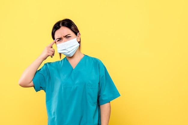 Vista lateral del médico con una máscara está pensando en pacientes con covid