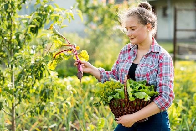 Vista lateral mujer recogiendo verduras