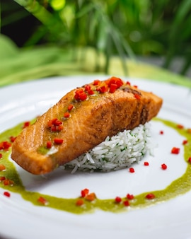Vista lateral pescado rojo frito con arroz hervido y salsa